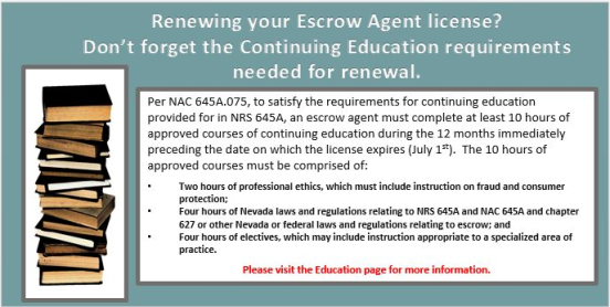 Continuing Education Requirements for Escrow Agents