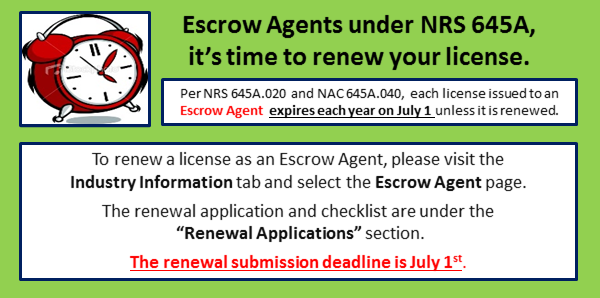 Escrow Agent Renewal Notification