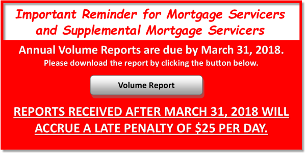 Mortgage Servicer Volume Report Reminder